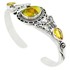 Natural yellow opal citrine 925 silver adjustable bangle jewelry m10387