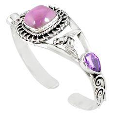 925 silver natural purple phosphosiderite (hope stone) adjustable bangle m10391