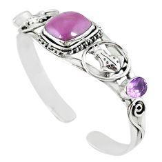 Natural purple phosphosiderite (hope stone) 925 silver adjustable bangle m10392