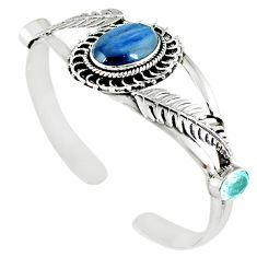 925 sterling silver natural blue kyanite adjustable bangle jewelry m10395
