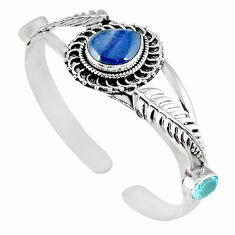 Natural blue kyanite topaz 925 sterling silver adjustable bangle m10396