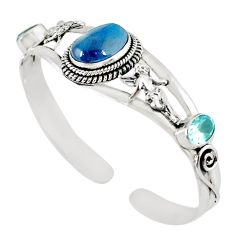 Natural blue apatite (madagascar) 925 silver adjustable bangle m10398