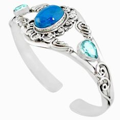 925 silver natural blue apatite (madagascar) topaz adjustable bangle m10400