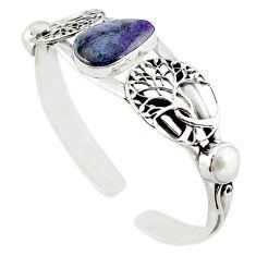 Natural purple sugilite white pearl 925 silver adjustable bangle m10409