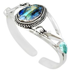 Natural brown boulder opal carving 925 silver adjustable bangle jewelry m10413