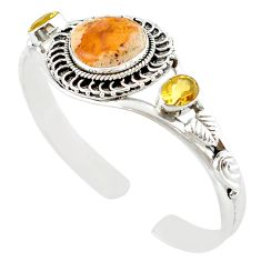 Natural multi color mexican fire opal 925 silver adjustable bangle m10419