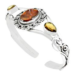 Natural multi color mexican fire agate 925 silver adjustable bangle m10424