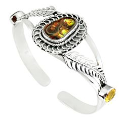 Natural multi color mexican fire agate 925 silver adjustable bangle m10425