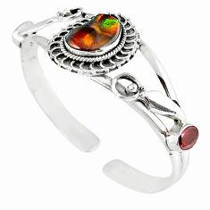925 silver natural multi color mexican fire agate adjustable bangle m10426