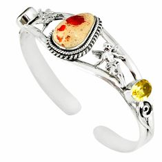 Natural multi color mexican fire opal 925 silver adjustable bangle m10430