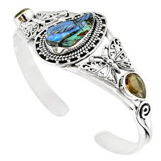 Natural brown boulder opal carving 925 silver adjustable bangle jewelry m10434