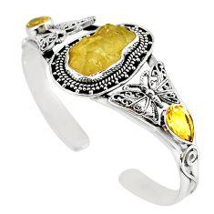 Natural libyan desert glass (gold tektite) 925 silver adjustable bangle m10439