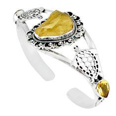 925 silver natural libyan desert glass (gold tektite) adjustable bangle m10440