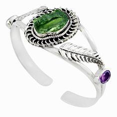 Natural green moldavite (genuine czech) 925 silver adjustable bangle m10448