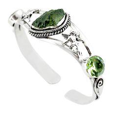Natural green moldavite (genuine czech) 925 silver adjustable bangle m10449