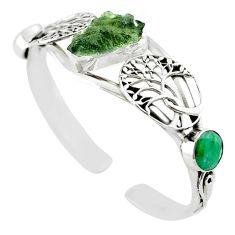 Natural green moldavite (genuine czech) 925 silver adjustable bangle m10451
