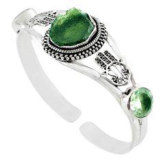 Natural green moldavite (genuine czech) 925 silver adjustable bangle m10454