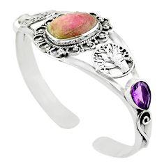 925 sterling silver natural pink bio tourmaline amethyst bangle jewelry m10473
