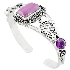Natural purple phosphosiderite (hope stone) 925 silver bangle jewelry m10474