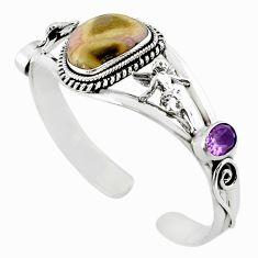 925 sterling silver natural pink bio tourmaline purple amethyst bangle m10475