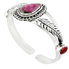 Natural pink bio tourmaline 925 sterling silver bangle jewelry m10476