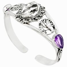 Natural white herkimer diamond purple amethyst 925 silver bangle m10477