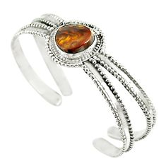 Natural multi color mexican fire agate 925 silver adjustable bangle m13022