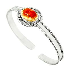 Natural multi color mexican fire opal 925 silver adjustable bangle m13024