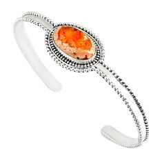 Natural multi color mexican fire opal 925 silver adjustable bangle m13025