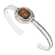 Natural multi color mexican fire agate 925 silver adjustable bangle m13027