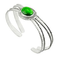 Natural green chrome diopside 925 sterling silver adjustable bangle m13036