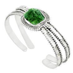 925 silver natural green moldavite (genuine czech) adjustable bangle m13039