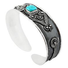 Blue arizona mohave turquoise 925 silver adjustable bangle m16466