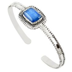 925 sterling silver natural blue kyanite adjustable bangle jewelry m25004