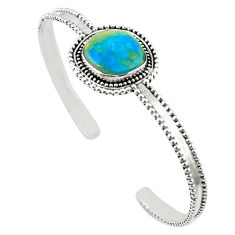 Natural green opaline 925 sterling silver adjustable bangle jewelry m25005