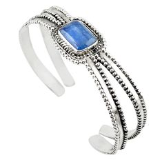 925 sterling silver natural blue kyanite adjustable bangle jewelry m25008