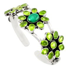 Natural green malachite (pilot's stone) 925 silver adjustable bangle m25009