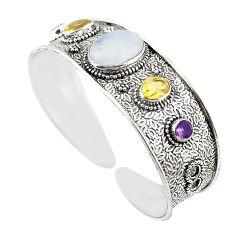 Natural rainbow moonstone purple amethyst 925 silver adjustable bangle m25015