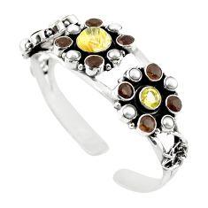 Natural golden tourmaline rutile pearl 925 silver adjustable bangle m25018