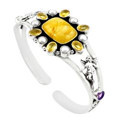 Natural golden tourmaline rutile pearl 925 silver adjustable bangle m25019