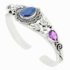 925 silver natural blue kyanite purple amethyst adjustable bangle jewelry m26540