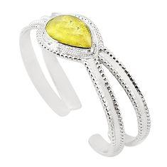Natural libyan desert glass (gold tektite) 925 silver adjustable bangle m37826