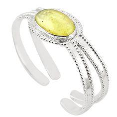 Natural libyan desert glass (gold tektite) 925 silver adjustable bangle m37827