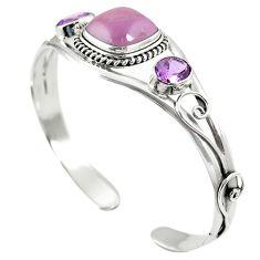 Natural pink kunzite amethyst 925 silver adjustable bangle jewelry m44705