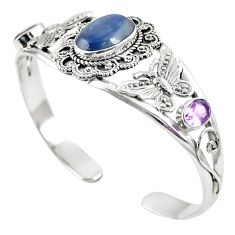 Natural blue kyanite amethyst 925 silver adjustable bangle jewelry m44707