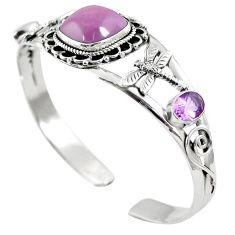 Natural pink kunzite amethyst 925 sterling silver adjustable bangle m44717