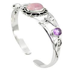 925 sterling silver natural pink kunzite amethyst adjustable bangle m44719
