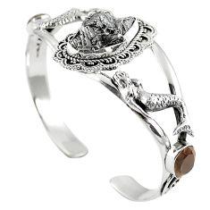 Natural campo del cielo (meteorite) 925 silver adjustable bangle m44720