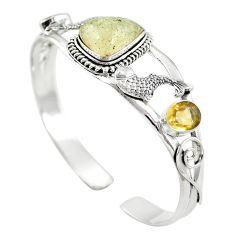 Natural libyan desert glass (gold tektite) 925 silver adjustable bangle m44726