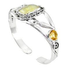 925 silver natural libyan desert glass (gold tektite) adjustable bangle m44730